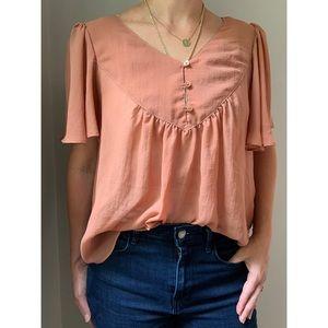 H&M Boho Rust Sheer Top | Size 8